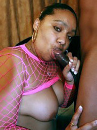 Horny black fatty Alize can't wait to..